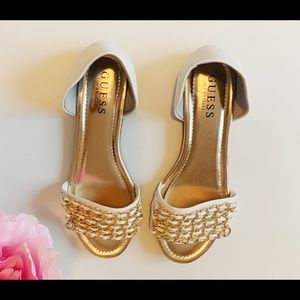 GUESS Gold embellished white flats
